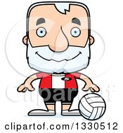 Clipart Of A Cartoon Happy Block Headed White Senior Man Volleyball Player Royalty Free Vector Illustration