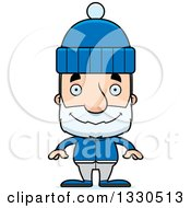 Clipart Of A Cartoon Happy Block Headed White Senior Man In Winter Clothes Royalty Free Vector Illustration by Cory Thoman