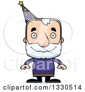 Clipart Of A Cartoon Happy Block Headed White Senior Man Wizard Royalty Free Vector Illustration by Cory Thoman