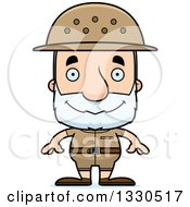 Clipart Of A Cartoon Happy Block Headed White Senior Man Zookeeper Royalty Free Vector Illustration