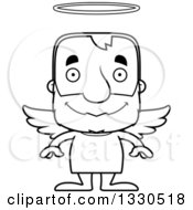 Lineart Clipart Of A Cartoon Black And White Happy Block Headed White Senior Man Angel Royalty Free Outline Vector Illustration