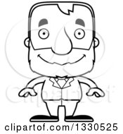 Lineart Clipart Of A Cartoon Black And White Happy Block Headed White Senior Business Man Royalty Free Outline Vector Illustration