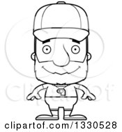 Lineart Clipart Of A Cartoon Black And White Happy Block Headed White Senior Man Sports Coach Royalty Free Outline Vector Illustration