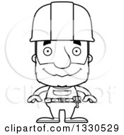 Cartoon Black And White Happy Block Headed White Senior Man Construction Worker