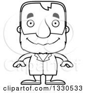 Cartoon Black And White Happy Block Headed White Senior Man Doctor