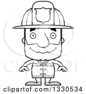 Lineart Clipart Of A Cartoon Black And White Happy Block Headed White Senior Man Firefighter Royalty Free Outline Vector Illustration