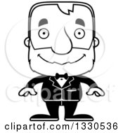 Lineart Clipart Of A Cartoon Black And White Happy Block Headed White Senior Man Groom Royalty Free Outline Vector Illustration