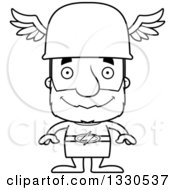 Lineart Clipart Of A Cartoon Black And White Happy Block Headed White Senior Man Hermes Royalty Free Outline Vector Illustration
