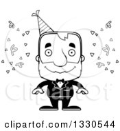 Lineart Clipart Of A Cartoon Black And White Happy Block Headed White Senior Party Man Royalty Free Outline Vector Illustration