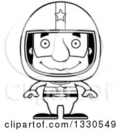 Lineart Clipart Of A Cartoon Black And White Happy Block Headed White Senior Man Race Car Driver Royalty Free Outline Vector Illustration