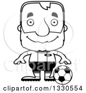 Lineart Clipart Of A Cartoon Black And White Happy Block Headed White Senior Man Soccer Player Royalty Free Outline Vector Illustration
