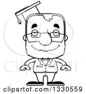 Cartoon Black And White Happy Block Headed White Senior Man Professor
