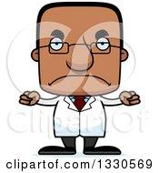 Clipart Of A Cartoon Mad Block Headed Black Man Scientist Royalty Free Vector Illustration