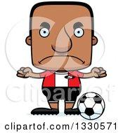 Clipart Of A Cartoon Mad Block Headed Black Man Soccer Player Royalty Free Vector Illustration