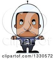 Clipart Of A Cartoon Mad Block Headed Futuristic Spaceblack Man Royalty Free Vector Illustration