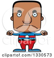 Clipart Of A Cartoon Mad Block Headed Black Man Super Hero Royalty Free Vector Illustration