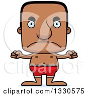 Clipart Of A Cartoon Mad Block Headed Black Man Swimmer Royalty Free Vector Illustration