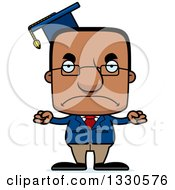 Clipart Of A Cartoon Mad Block Headed Black Man Professor Royalty Free Vector Illustration by Cory Thoman