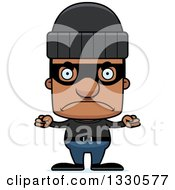 Clipart Of A Cartoon Mad Block Headed Black Man Robber Royalty Free Vector Illustration