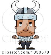 Clipart Of A Cartoon Mad Block Headed Black Man Viking Royalty Free Vector Illustration by Cory Thoman