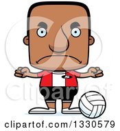 Clipart Of A Cartoon Mad Block Headed Black Man Volleyball Player Royalty Free Vector Illustration