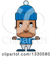 Clipart Of A Cartoon Mad Block Headed Black Man In Winter Clothes Royalty Free Vector Illustration by Cory Thoman