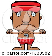 Clipart Of A Cartoon Mad Block Headed Black Man Lifeguard Royalty Free Vector Illustration by Cory Thoman