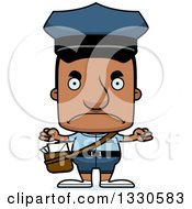 Clipart Of A Cartoon Mad Block Headed Black Mail Man Royalty Free Vector Illustration by Cory Thoman