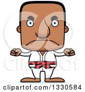Clipart Of A Cartoon Mad Block Headed Black Karate Man Royalty Free Vector Illustration by Cory Thoman