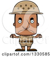 Clipart Of A Cartoon Mad Block Headed Black Man Zookeeper Royalty Free Vector Illustration
