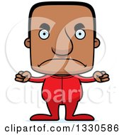 Clipart Of A Cartoon Mad Block Headed Black Man In Pajamas Royalty Free Vector Illustration by Cory Thoman