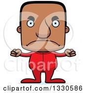 Clipart Of A Cartoon Mad Block Headed Black Man In Pajamas Royalty Free Vector Illustration by Cory Thoman