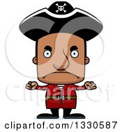 Clipart Of A Cartoon Mad Block Headed Black Man Pirate Royalty Free Vector Illustration by Cory Thoman