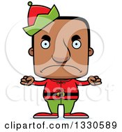 Clipart Of A Cartoon Mad Block Headed Black Man Christmas Elf Royalty Free Vector Illustration