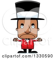 Clipart Of A Cartoon Mad Block Headed Black Man Circus Ringmaster Royalty Free Vector Illustration