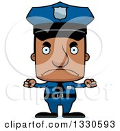 Clipart Of A Cartoon Mad Block Headed Black Man Police Officer Royalty Free Vector Illustration by Cory Thoman