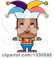 Clipart Of A Cartoon Mad Block Headed Black Man Jester Royalty Free Vector Illustration by Cory Thoman