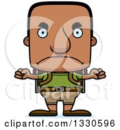 Clipart Of A Cartoon Mad Block Headed Black Man Hiker Royalty Free Vector Illustration by Cory Thoman