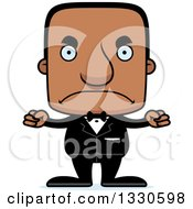Clipart Of A Cartoon Mad Block Headed Black Man Groom Royalty Free Vector Illustration