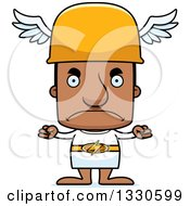 Clipart Of A Cartoon Mad Block Headed Black Man Hermes Royalty Free Vector Illustration
