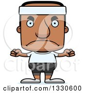 Clipart Of A Cartoon Mad Block Headed Fit Black Man Royalty Free Vector Illustration