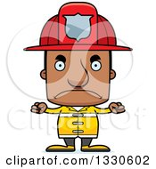 Clipart Of A Cartoon Mad Block Headed Black Man Firefighter Royalty Free Vector Illustration by Cory Thoman