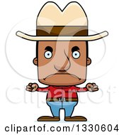 Clipart Of A Cartoon Mad Block Headed Black Man Cowboy Royalty Free Vector Illustration by Cory Thoman