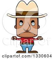 Clipart Of A Cartoon Mad Block Headed Black Man Cowboy Royalty Free Vector Illustration