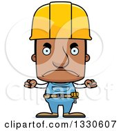 Clipart Of A Cartoon Mad Block Headed Black Man Construction Worker Royalty Free Vector Illustration by Cory Thoman