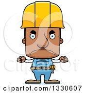 Cartoon Mad Block Headed Black Man Construction Worker