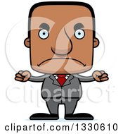 Clipart Of A Cartoon Mad Block Headed Black Business Man Royalty Free Vector Illustration by Cory Thoman