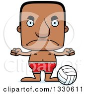 Clipart Of A Cartoon Mad Block Headed Black Man Beach Volleyball Player Royalty Free Vector Illustration