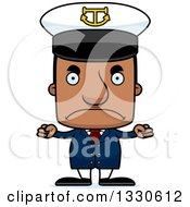 Clipart Of A Cartoon Mad Block Headed Black Man Boat Captain Royalty Free Vector Illustration by Cory Thoman