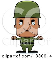 Clipart Of A Cartoon Mad Block Headed Black Army Soldier Man Royalty Free Vector Illustration